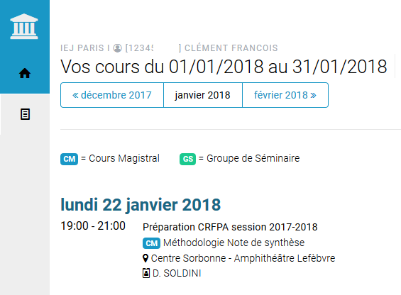 Planning cours magistraux