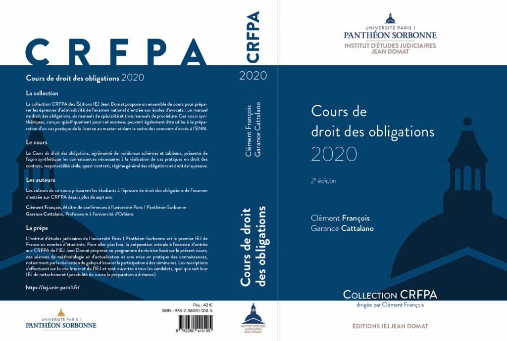 Cours de droit des obligations 2020 (couverture)
