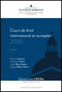 Couverture Cours de droit international et européen 2020