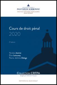 Couverture Cours de droit pénal 2020