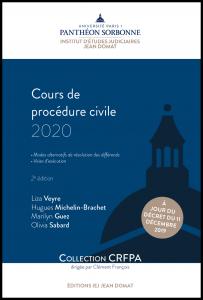 Couverture Cours de procédure civile 2020