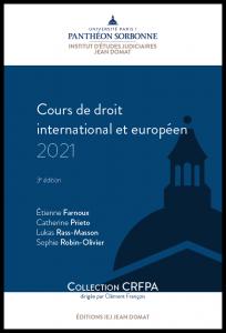 Couverture Cours de droit international et européen 2021